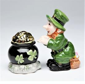 "-LEPRECHAUN & POT OF GOLD SALT & PEPPER SHAKER SET. SALT 2.2"" WIDE, 2.4"" TALL. PEPPER 2.25"" LONG, 1.75"" WIDE, 3.75"" TALL"