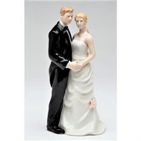 "-,WEDDING COUPLE FIGURINE. 2.8"" LONG, 2.5"" WIDE, 5.75"" TALL"