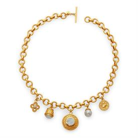 -,CAROUSEL NECKLACE. FABULOUS CHARM NECKLACE WITH REVERSABLE CHARMS. FEATURES PEARL, LABADORITE & ZIRCON IN 24K GOLD PLATE. 19""