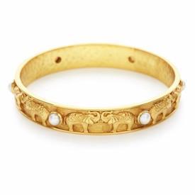 _ELEPHANT BANGLE. ELEPHANT ICONS & FRESH WATER PEARLS ADORN THIS 24K GOLD PLATED BANGLE. SIZE MEDIUM.