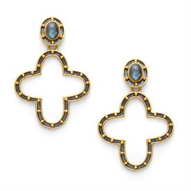 _,CASPIAN COLLECTION STATEMENT EARRING IN MIXED METAL & LABRADORITE. 24K GOLD PLATED STUDS ON A METAL QUATREFOIL WITH LABRADORITE. 2.25""