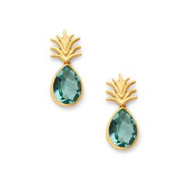 "-,PINEAPPLE EARRING IN AQUAMARINE BLUE. EUROPEAN GLASS GEMSTONE TOPPED WITH A GILDED LEAF CROWN IN 24K GOLD PLATE. 1.5"". POST BACK"