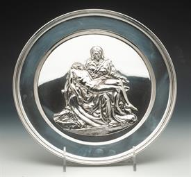 """,PIETA BY MICHELANGELO STERLING SILVER PLATED MADE BY CARRS OF ENGLAND 9"""" ROUND 12.20 TROY OUNCES"""