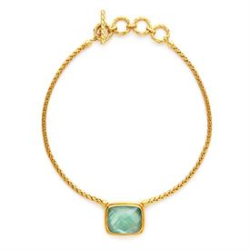 "-,STATEMENT NECKLACE IN IRIDESCENT AQUAMARINE BLUE. GRAND SHIMMERING GEM FRAMED IN 24K GOLD PLATE WITH WOVEN CHAIN. 17""-19.5"" LONG"