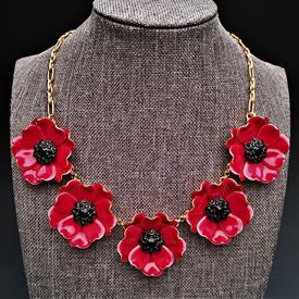 ",'PRECIOUS POPPY' RED ENAMEL & BLACK CRYSTAL IN GOLD TONE METAL STATEMENT NECKLACE. 18"" LONG WITH 3.5"" EXTENDER CHAIN"