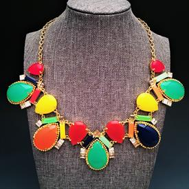 ",'AMALFI' SHORT MOSAIC STATEMENT NECKLACE. 17"" LONG WITH 3"" EXTENDER CHAIN"
