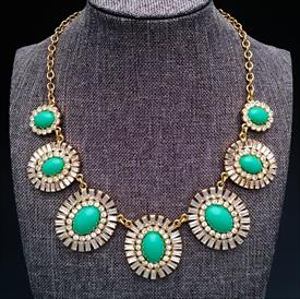 ",'CAPRI GARDEN' STATEMENT NECKLACE IN GREEN. 17"" LONG WITH 3.25"" EXTENDER CHAIN"