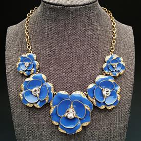 ",RARE 'BEACH HOUSE BOUQUET' CORNFLOWER BLUE STATEMENT NECKLACE. 17"" LONG WITH 3"" EXTENDER CHAIN"