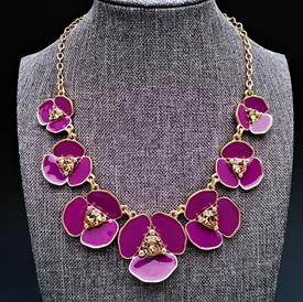 ",PURPLE & GOLD 'NEW YORK FLOWER' STATEMENT NECKLACE. 17.5"" LONG WITH 2"" EXTENDER CHAIN"