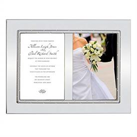 "-DOUBLE 5X7"" INVITATION FRAME. SILVERPLATE. 12.5"" LONG, 10.5"" TALL. BREAKAGE REPLACEMENT AVAILABLE. MSRP $109.00"