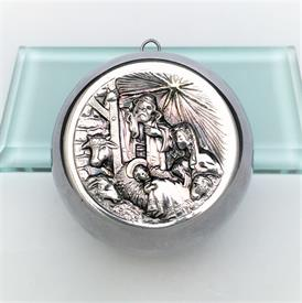 ",LIMITED EDITION 1/100 CAZENOVIA STERLING SILVER NATIVITY ORNAMENT. .999 PURE. 2.85 TROY OZ. 3"" WIDE"