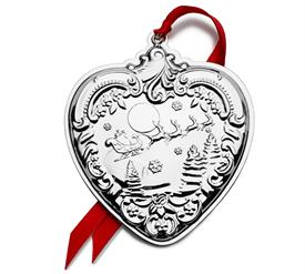 """-,28th Ed.Heart,Sterling,Grande Baroque Sterling Silver Ornament made by Wallace in USA 3""""W x 3.5""""H UPC#73093671675 MSRP $240.00 Year 2019"""