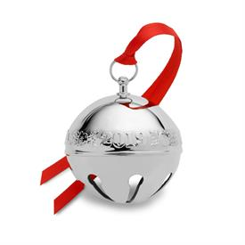 "-,2019 Sleigh Bell Plated in Silver 49th Edition Holly Themed made by Wallace in USA 2.75""W x 2.75H"" MRSP $75 UPC#730936071842"