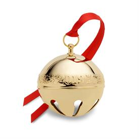 "-,2019 Sleigh Bell Gold Plated 30th Anniversary Edition Holly themed 2.75""W by 2.75""H made by Wallace in USA UPC#730936071866 MRSP $105"