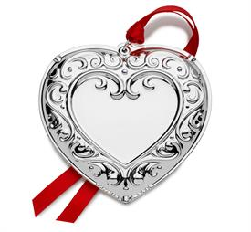 """-,Heart Engraveable Silver Plated Ornament 7th Edition made by Wallace in USA 3""""W x 3""""H MSRP $75  UPC#736636071798 Made in Year 2019"""