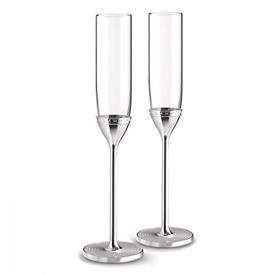 -TOASTING FLUTE PAIR, SILVER