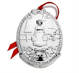 "-2019 12 Days of Christmas Ornament 8th Edition Silver Plated ""Eight Maids A Milking"" made by Towle in USA MSRP $60 UPC#044228045344"