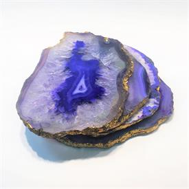 -,SET OF 4 PURPLE AGATE COASTERS WITH GOLD FOIL EDGES. EACH COASTER VARIES IN SIZE, SHAPE, AND COLOR