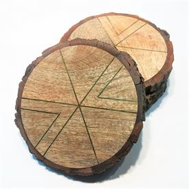 _:SET OF 4 WOOD COASTERS WITH BARK EDGES AND BRASS INLAY.