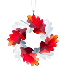 "-,WREATH ORNAMENT WITH RED & CLEAR LEAVES. 2.4"" WIDE."