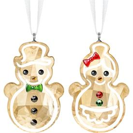 """-,GINGERBREAD SNOWMAN COUPLE ORNAMENTS.S 1.75"""" TALL, 1"""" WIDE, .5"""" DEEP"""