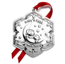 "-Baby's First Christmas Ornament Sterling Silver by Empire - Bear on Moon MRSP $195 UPC #781642001852 2.75""Wide by 3.25"" High"