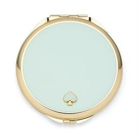 "-,AQUA COMPACT MIRROR. 3.12"" WIDE, .25"" THICK. GOLD PLATE WITH EPOXY COLOR. BREAKAGE REPLACEMENT AVAILABLE."