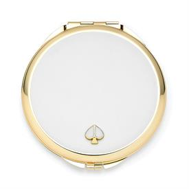 "-,WHITE COMPACT MIRROR. 3.12"" WIDE, .25"" THICK. GOLD PLATE & EPOXY COLOR. BREAKAGE REPLACEMENT AVAILABLE."