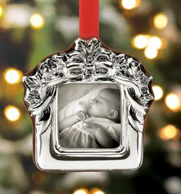 "_:Holiday Ribbon Picture Frame Sterling Silver Christmas Ornament made by Reed & Barton in Italy 3"" Height MSRP $100 UPC#875015"