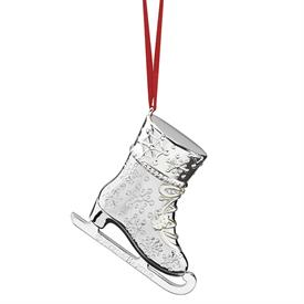 ",+'SNOW DAYS' SKATE ORNAMENT. SILVER-PLATE. 2.75"" TALL. MSRP $49.95"
