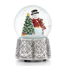 "-,VINTAGE SNOWMAN MUSICAL SNOWGLOBE (5.75"" TALL. SILVERPLATED. PLAYS 'DECK THE HALLS')"