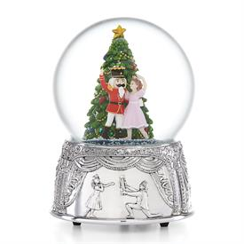 "-,NUTCRACKER SUITE MUSICAL SNOWGLOBE. (6"" TALL. SILVERPLATED. PLAYS 'DANCE OF THE SUGAR PLUM FAIRY')"