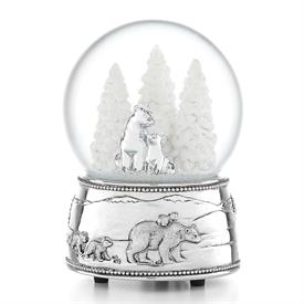 "-,POLAR BEAR & CUBS 'NORTH POLE BOUND' MUSICAL SNOWGLOBE. (6"" TALL. SILVERPLATED. PLAYS 'JINGLE BELLS')"