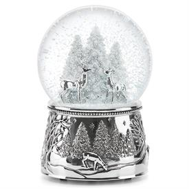 "-,REINDEER 'NORTH POLE BOUND' MUSICAL SNOW BLOBE. (6"" TALL. SILVERPLATED. PLAYS 'SILENT NIGHT')"