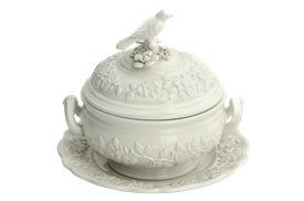 "-8.75"" BIRD TUREEN AND STAND"