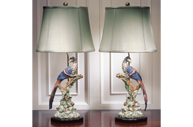 "-PAIR OF BRIGHTON PAVILION BIRD LAMPS. 32"""