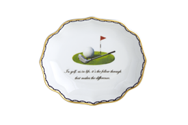 -,'IN GOLF, AS IN LIFE, IT'S THE FOLLOW THROUGH THAT MAKES THE DIFFERENCE' TRAY. 5.25""