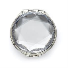 "-COMPACT MIRROR. SILVER PLATED STAINLESS STEEL. 2.75"" WIDE. BREAKAGE REPLACEMENT AVAILABLE."