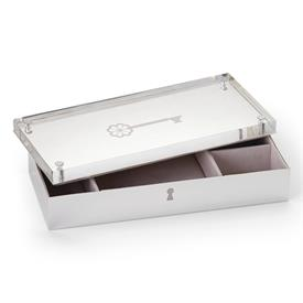 """-JEWELRY BOX. 8"""" LONG, 3.25"""" WIDE, 1.75"""" TALL. SILVERPLATED STAINLESS STEEL. BREAKAGE REPLACEMENT AVAILABLE."""