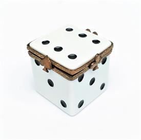 ",RETIRED DIE/DICE LIMOGES TRINKET BOX. HAND PAINTED, SIGNED, NUMBERED 8/500. 1.4"" TALL & WIDE."