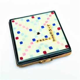 ",RARE RETIRED SCRABBLE BOARD LIMOGES TRINKET BOX. HAND PAINTED, SIGNED. .5"" TALL, 2.25"" WIDE"
