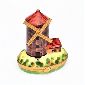 ",RARE RETIRED WINDMILL LIMOGES TRINKET BOX BY ARTORIA. HAND PAINTED, SIGNED, NUMBERED 176/1000. 2.6"" TALL, 2.25"" LONG, 1.6"" WIDE"