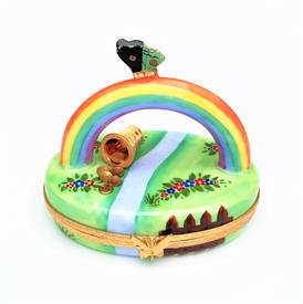",POT OF GOLD AT THE END OF THE RAINBOW LIMOGES TRINKET BOX BY ROCHARD. HAND PAINTED, SIGNED. 2.4"" TALL, 2.75"" LONG, 2"" WIDE"