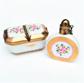 ",RETIRED VINTAGE LIMOGES PERFUME BOTTLE & DOUBLE SIDED TRINKET/BUTTON BOX PAIR. HAND PAINTED. PERFUME 2.8"" TALL. BASKET 1.5""TX3.1L""X2.1""W"