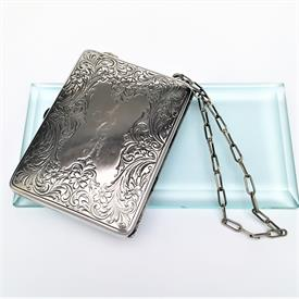 """,EARLY 20TH CENTURY WHS CO. GERMAN SILVER CARRY-ALL COMPACT PURSE. INCLUDES ALL THE ORIGINAL ACCESSORIES. 3.5""""L, 2.6""""W, .5""""D, 11"""" CHAIN"""