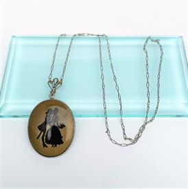 """,ART DECO ERA SILHOUETTE CAMEO STYLE POWDER COMPACT NECKLACE. 24"""" CHAIN. 2.4"""" LONG, 1.25"""" WIDE COMPACT."""