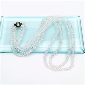 ",ART DECO ERA DOUBLE STRAND CLEAR FACETED CZECH GLASS NECKLACE WITH STERLING SILVER CLASP. 21"" LONG"