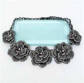 ",FACETED AURORA BOREALIS CRYSTAL NECKLACE WITH STERLING SILVER & FAUX PEARL CLASP. HAND KNOTTED. 19.5"" LONG"