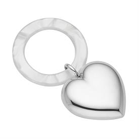 -MICAELA SILVERPLATE HEART TEETHING RING/RATTLE. 4.25""