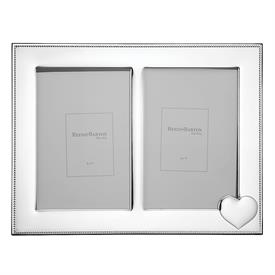 "_,5X7"" DOUBLE INVITATION FRAME IN SILVERPLATE OVER STAINLESS STEEL. 12"" LONG"